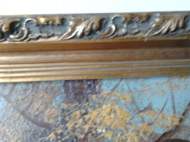 Peinture à l'huile sur toile signé art déco années 60