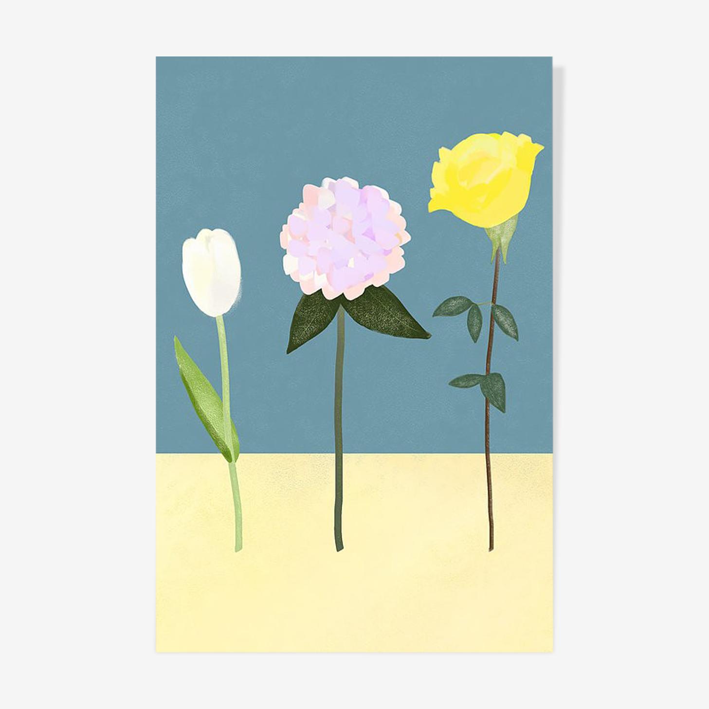 Trois fleurs à l'huile