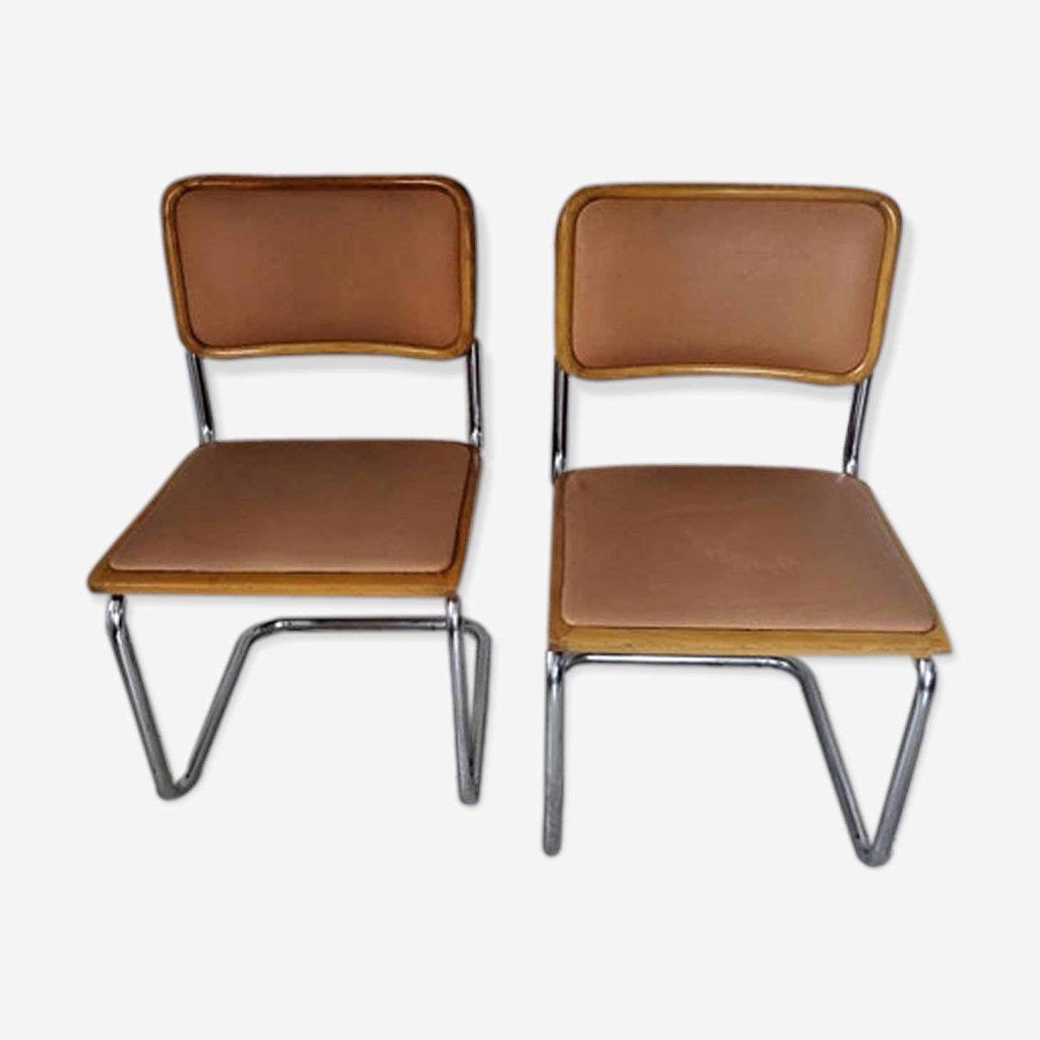 Paire de chaises Cesca B 32 de Breuer-Cantilever de la série des porte à faux