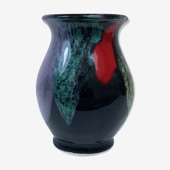 Vase in black ceramic and bright colors, 1960