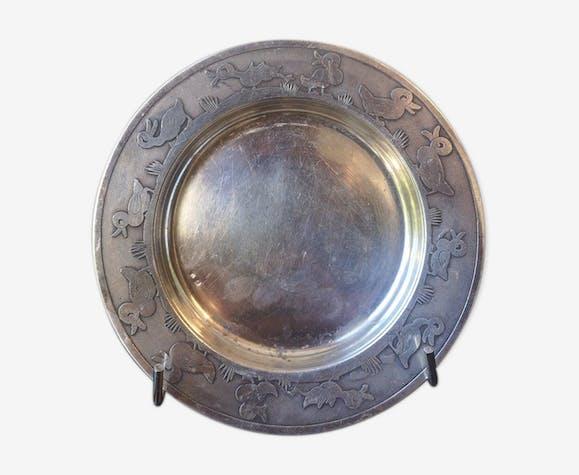 Dessous de bouteille en métal argenté vers 1950