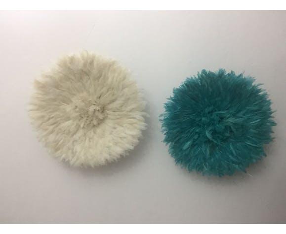 Ensemble de 2 juju hats blanc et aqua 50cm