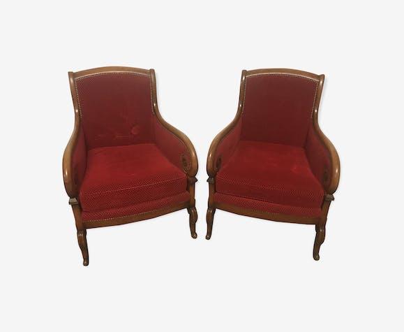 Paire de fauteuils bergères Empire