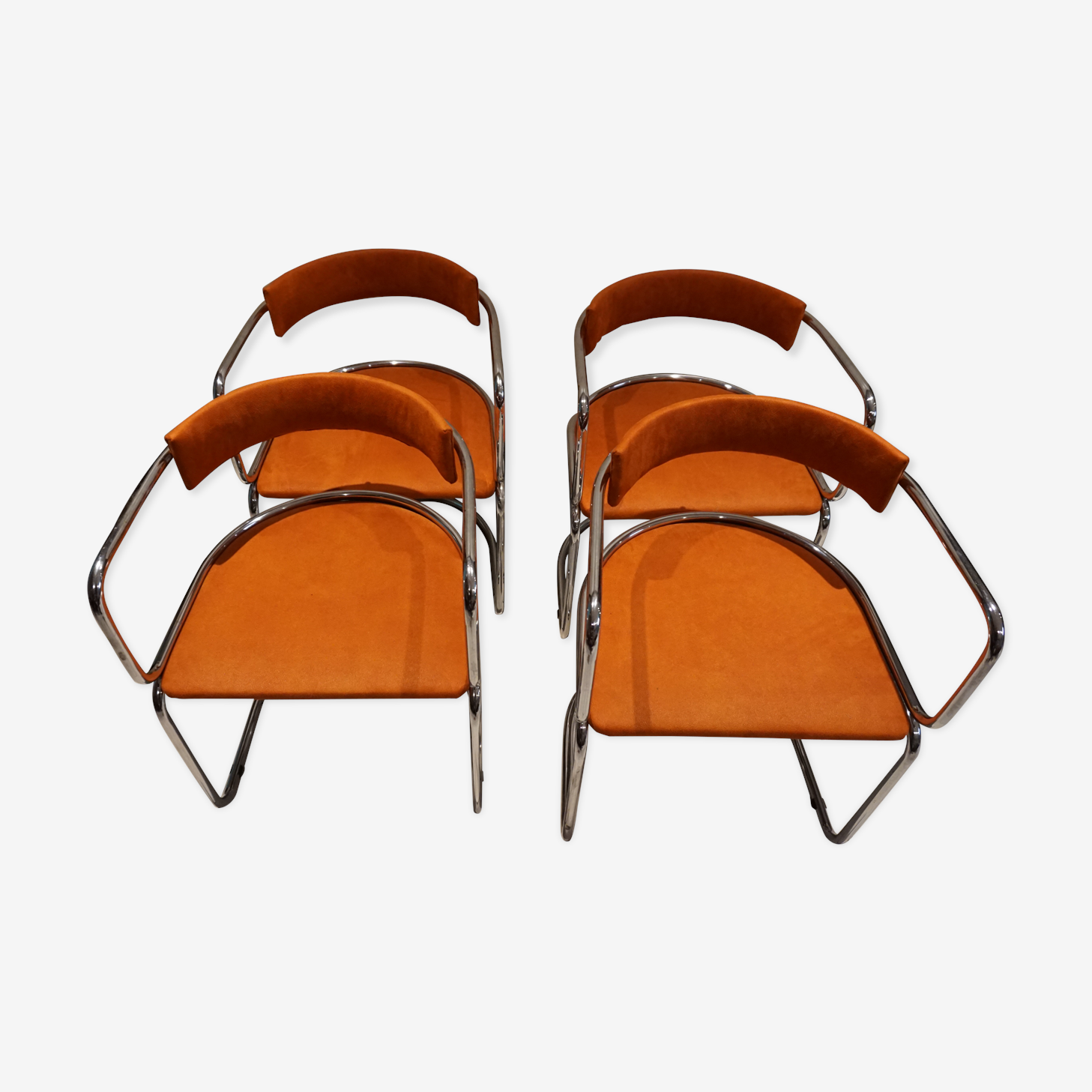 Series of chairs in chrome and fabrics Roche Bobois 1970