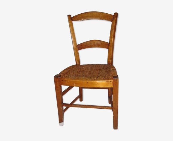 Chaise en bois & rotin de 1908