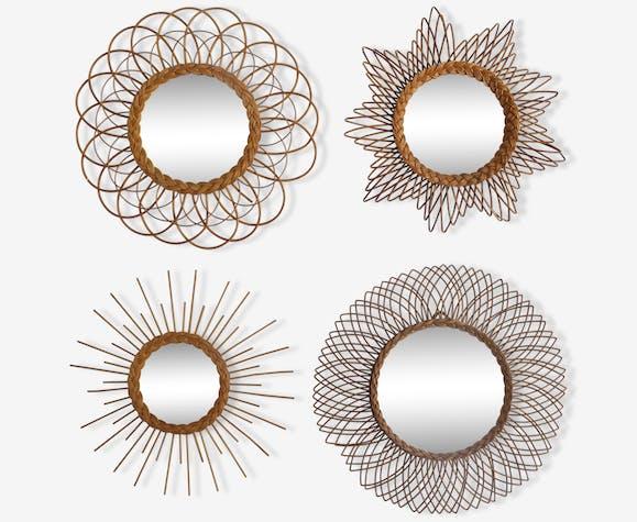 Lot de 4 miroirs soleil rotin et osier vintage 96672 - Miroir en rotin ...