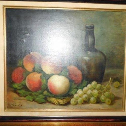 M.Thiery nature morte à la bouteille verre pêches et raisin huile sur toile