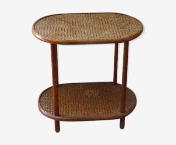Table d appoint desserte gueridon double plateau bois et cannage vintage