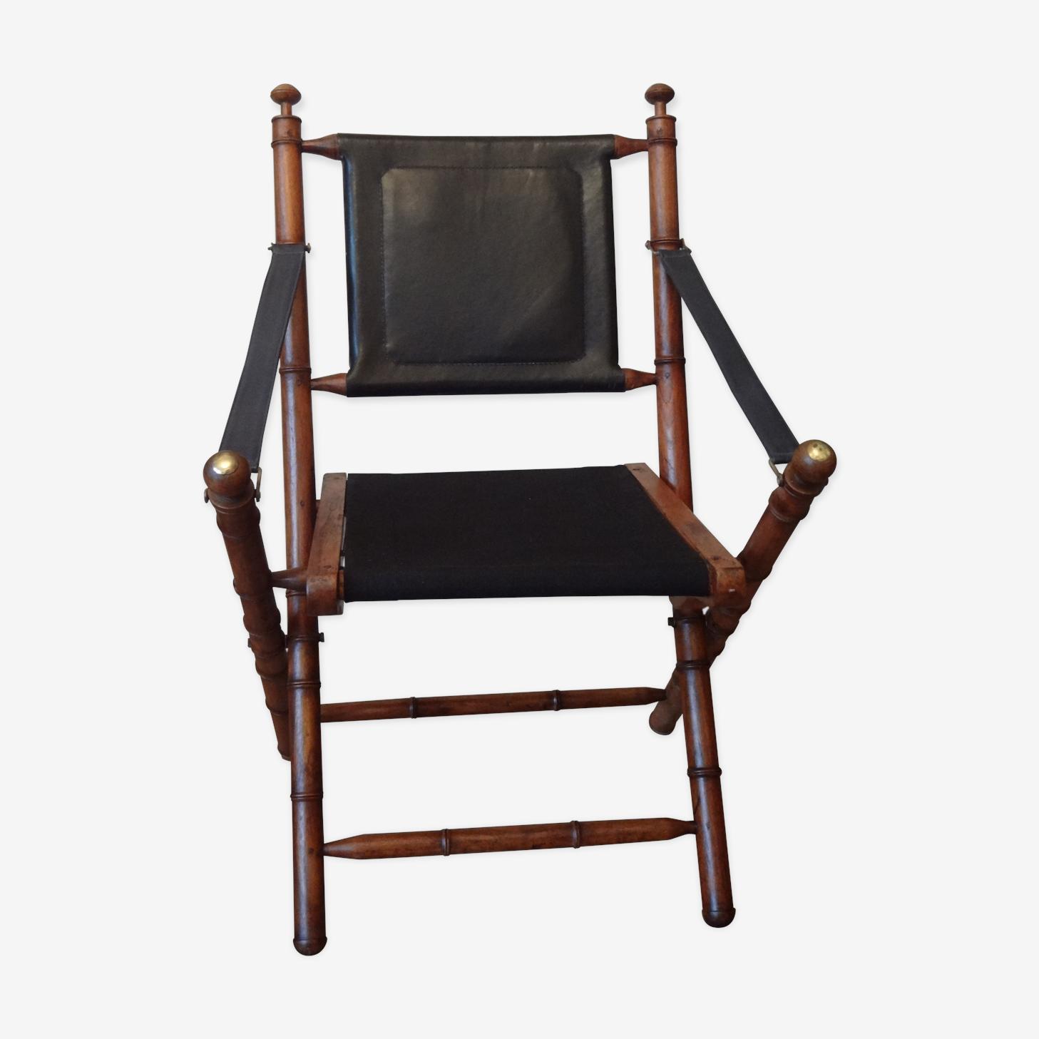 Fauteuil pliant style colonial cuir noir vintage SWy0Z5a