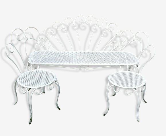 Salon de jardin fer forgé des années 50 - metal - white - classic ...