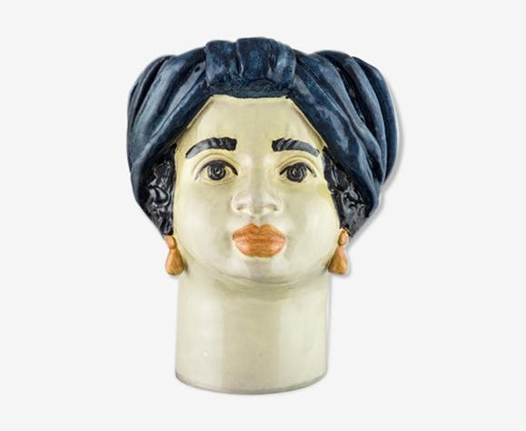 Vase tête moyenne bleue femme