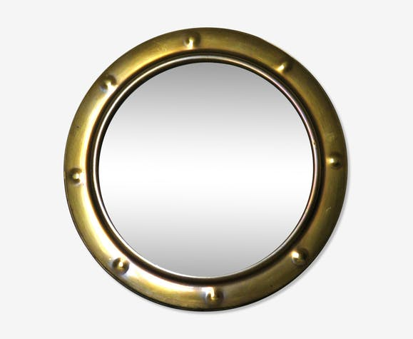 Curved glass mirror and brass porthole 39X39cm - brass - golden ...