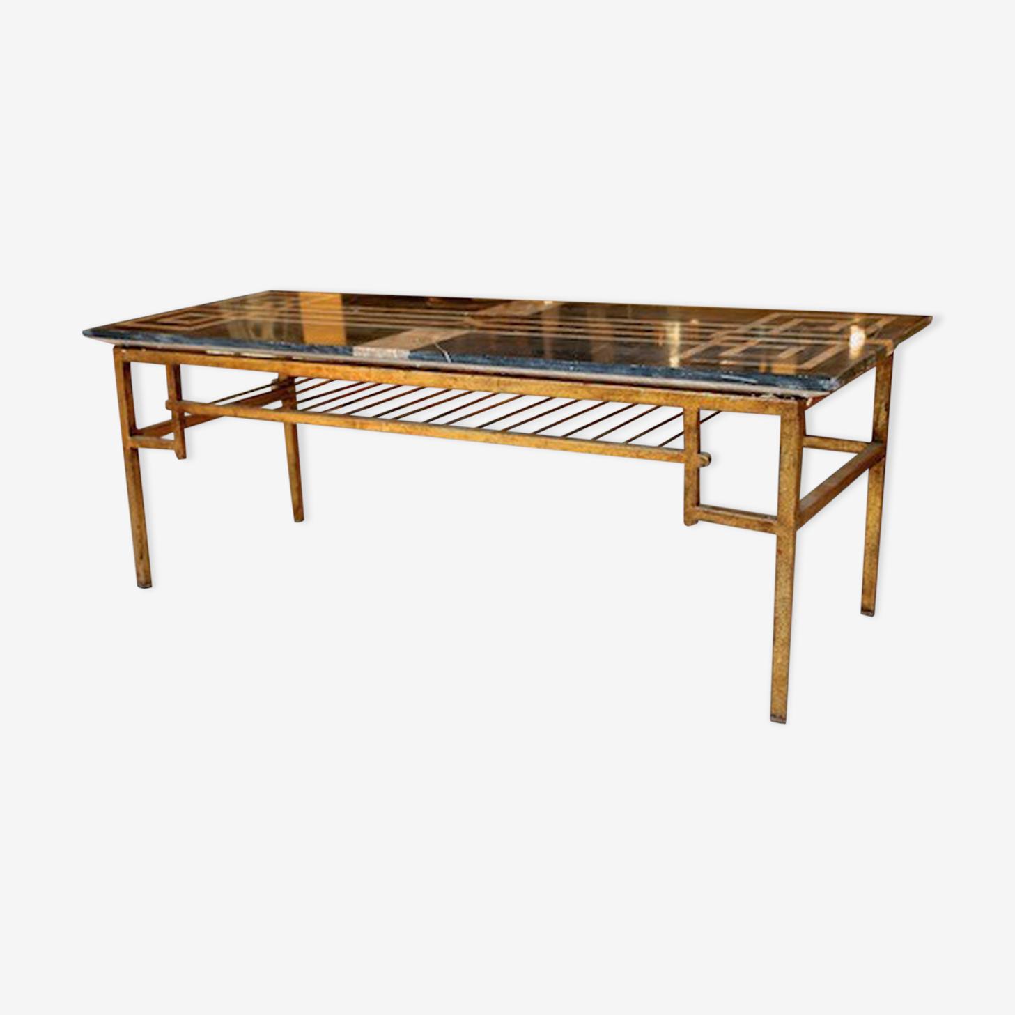 Table Basse Plateau En Marbre Et Pietement En Fer Forge Dore 1950