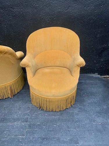 Suite de 3 fauteuils crapaud vintage