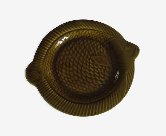 Plat rond vintage en forme de poissoncéramique de Sarguemines
