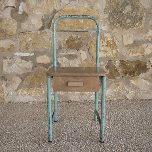 Metal and wood boarding bedside chair