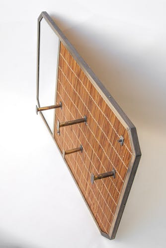 Vintage wicker coat rack with mirror and brass hooks