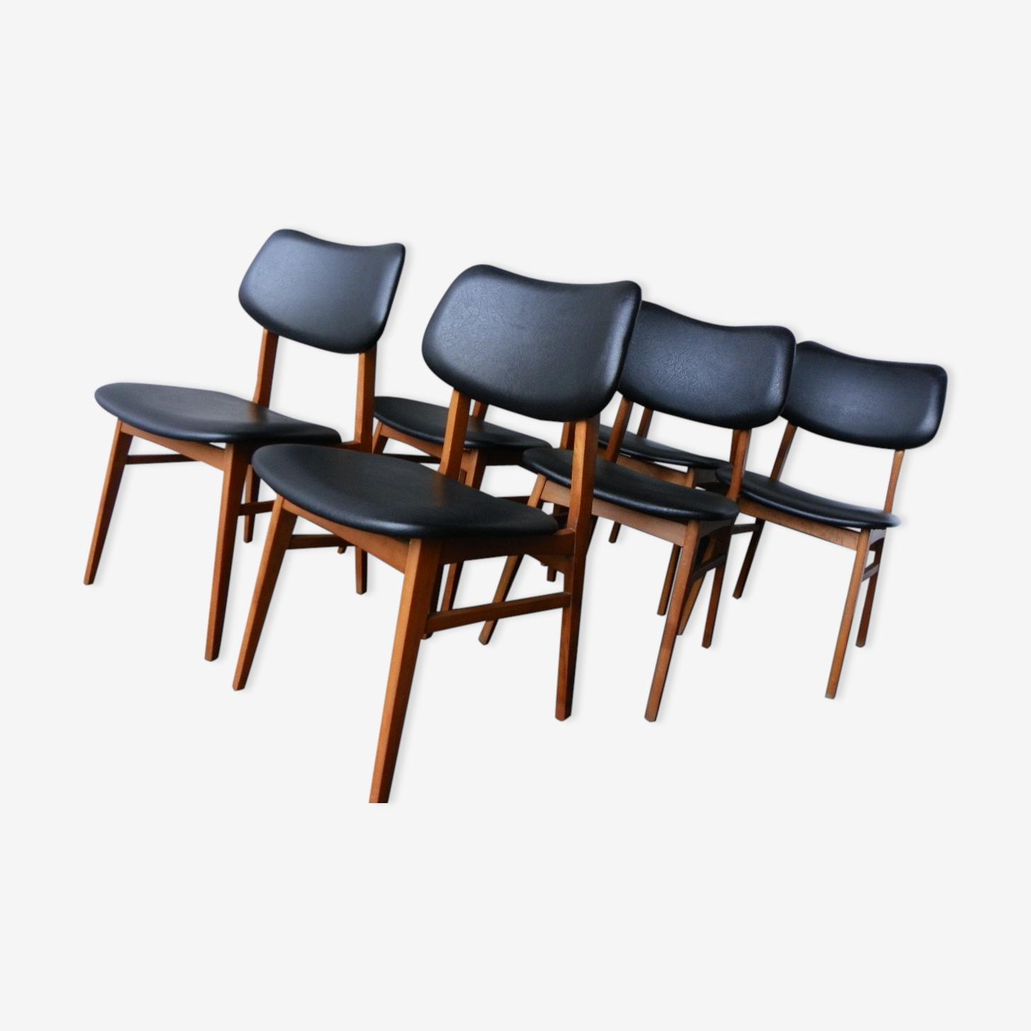 Lot de 6 chaises scandinave années 70
