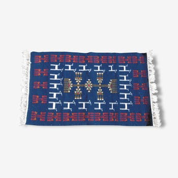 Tapis kilim berbère bleu, 100x60
