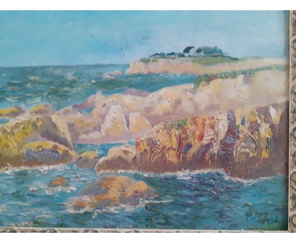 Tableau peint à l' huile signé Roy 1931 avec son encadrement