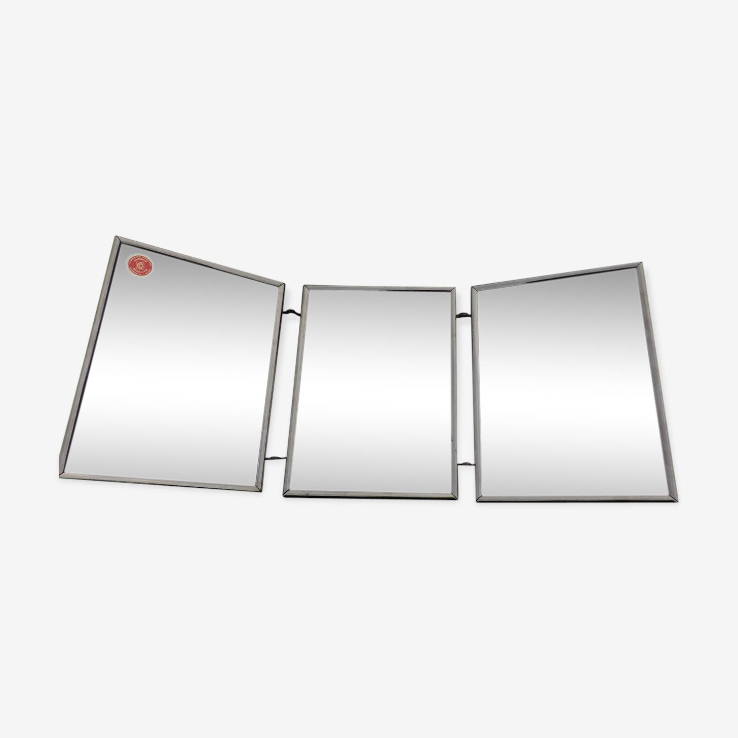 Miroir barbier triptyque métal 55x23,5 cm