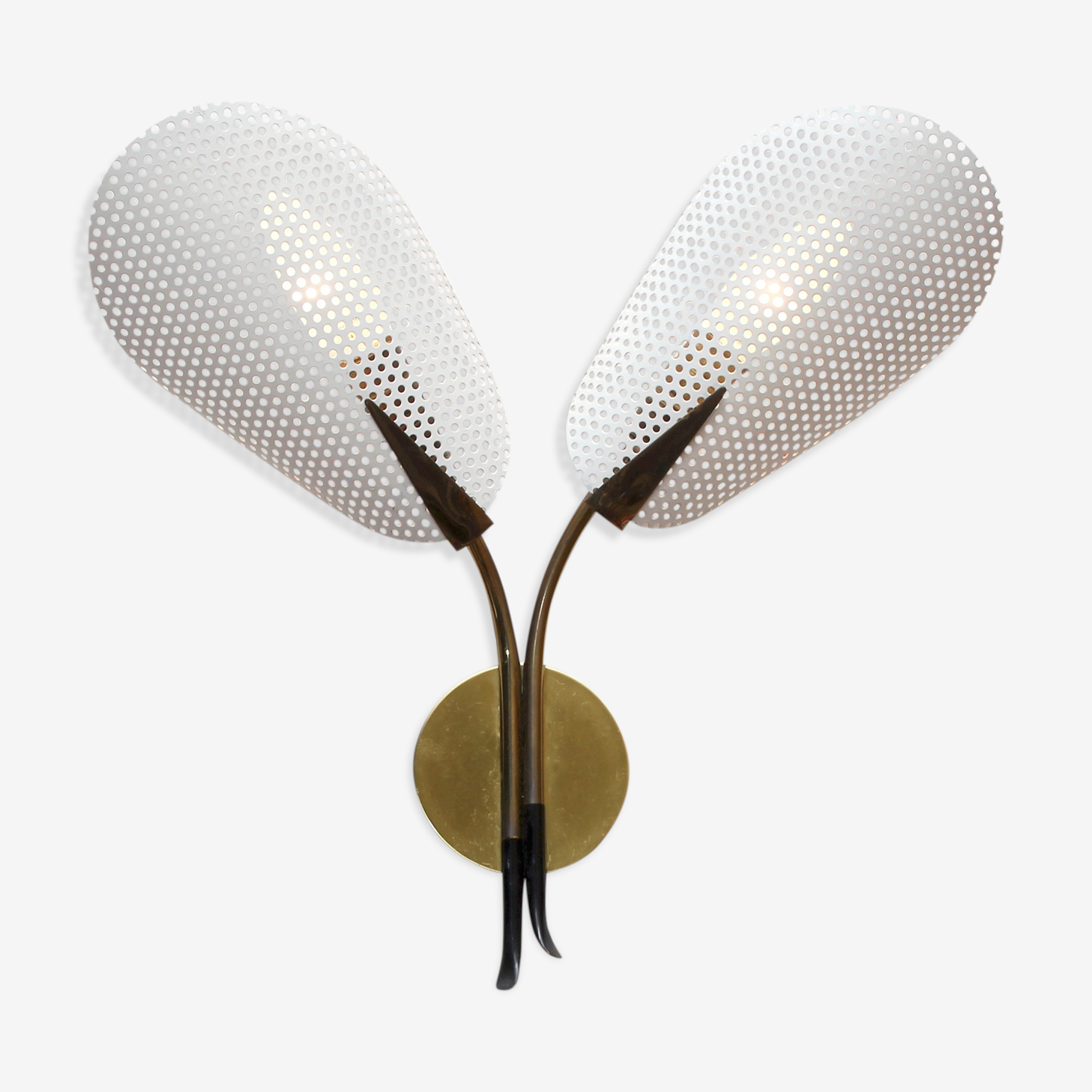 Wall lamp in brass and perforated metal 1950