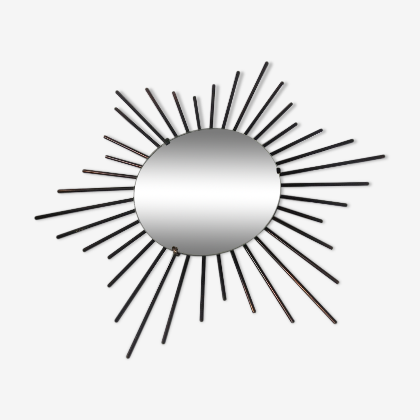 Miroir soleil en métal noir 60 x 60 cm