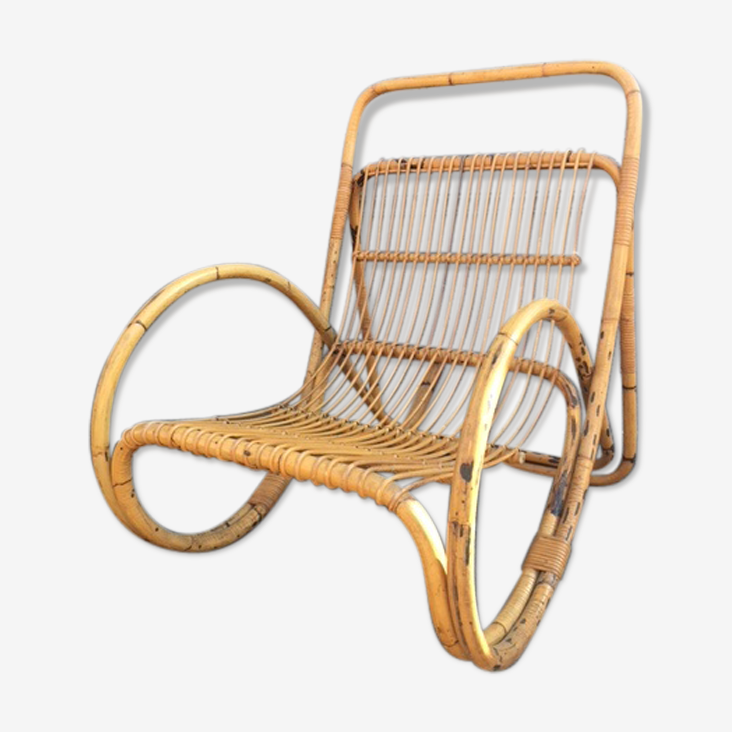 Italian rattan and bamboo armchair of 1950 Pierantonio Bonacina