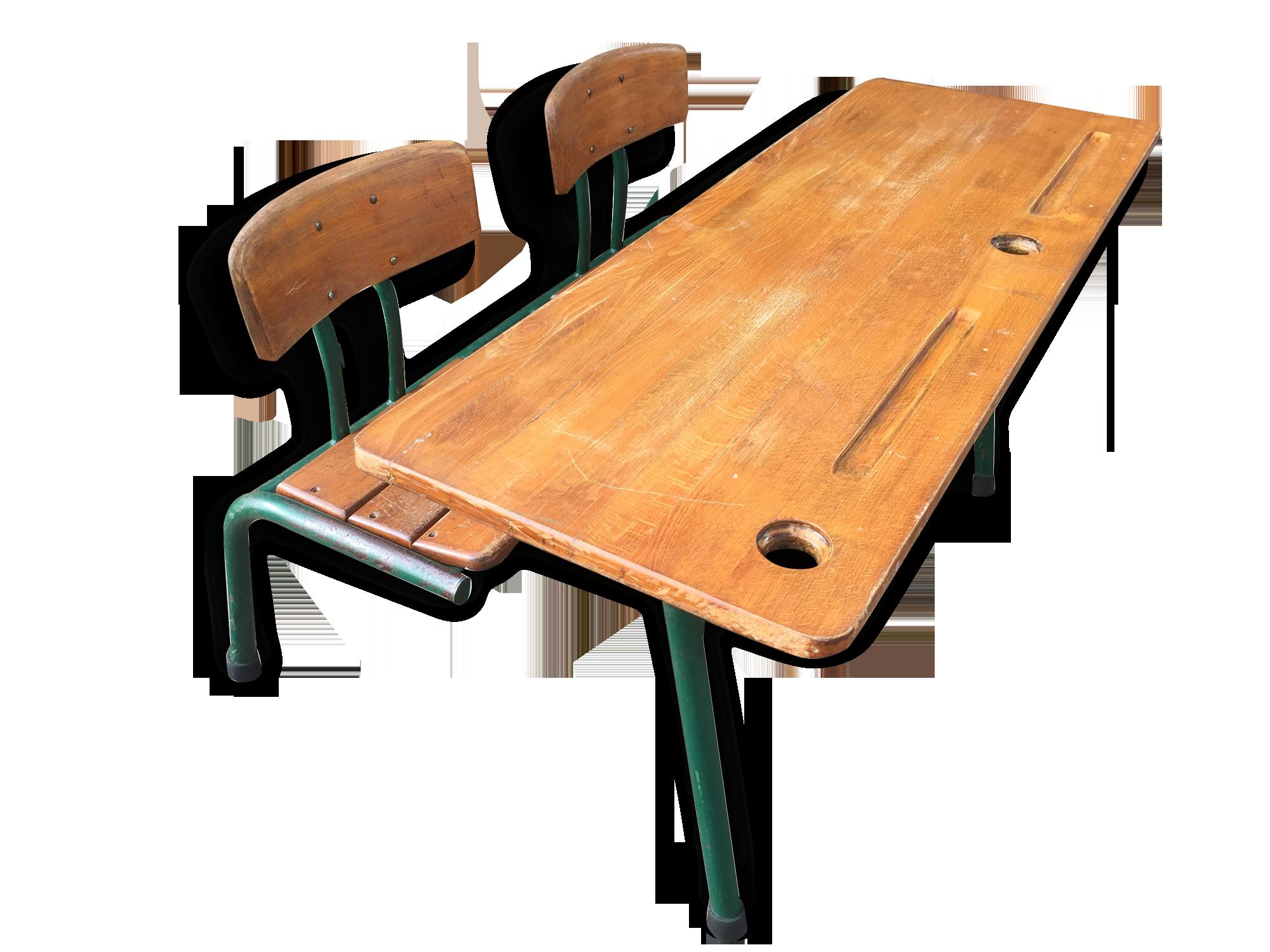 Pupitre ancien bureau d école en chêne et pin antiquites