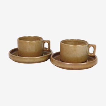 Set of two cups and saucers Brenne sandstone of France