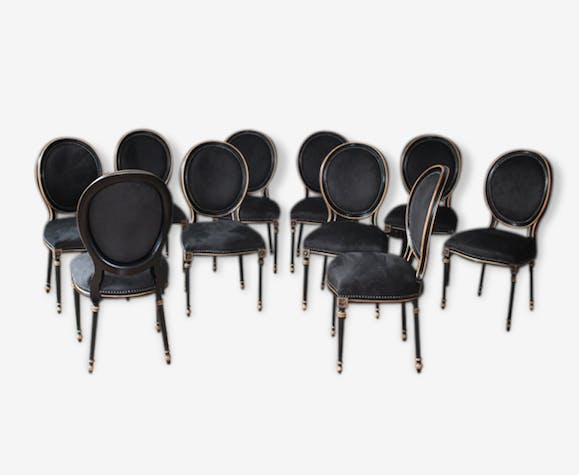 Lot 6 Chaise Medaillon Noir