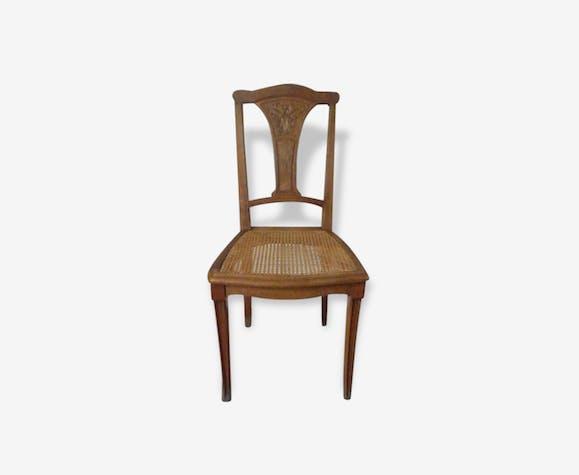 chaise ancienne cann e en bois bois mat riau bois couleur classique 152765. Black Bedroom Furniture Sets. Home Design Ideas