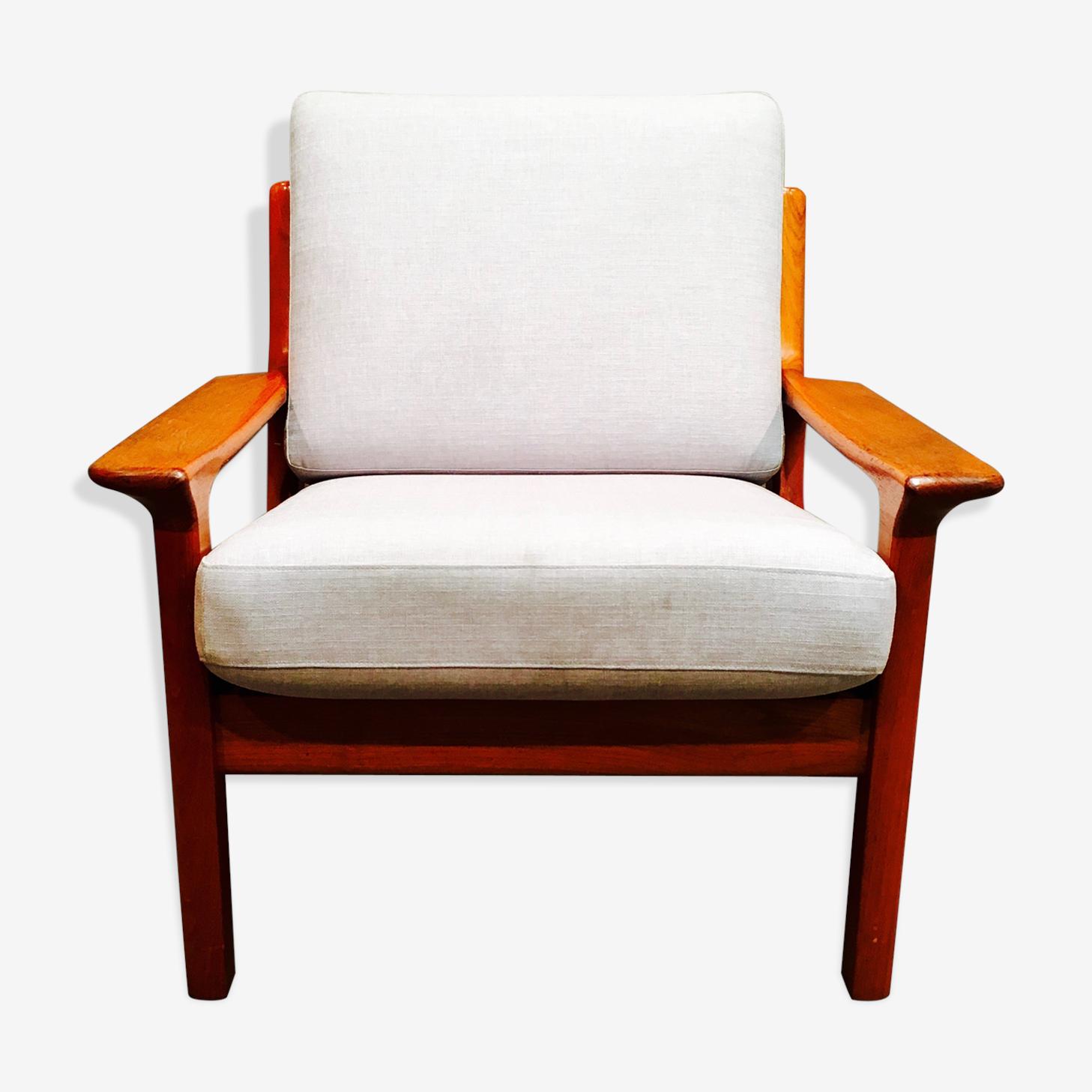 """Chair grey teak clear """"Scandinavian design"""" 1950."""