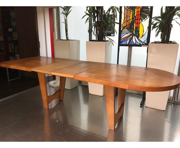Table de salle à manger avec rallonge de Guillerme et Chambron 1950 en chêne édition Votre Maison