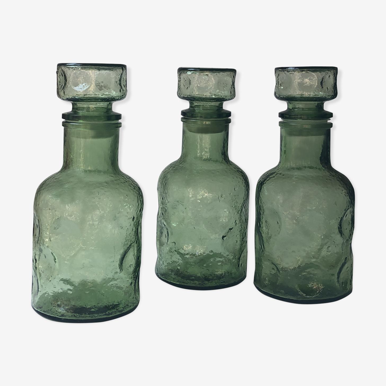 Ensemble de 3 flacons en verre vert