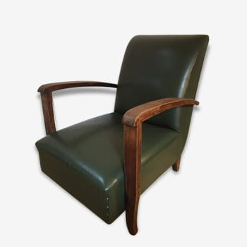 fauteuil chauffeuse baumann argos cuir style art deco bois mat riau noir art d co 110340. Black Bedroom Furniture Sets. Home Design Ideas