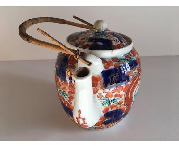 Théière japonaise porcelaine oiseaux à décor floral