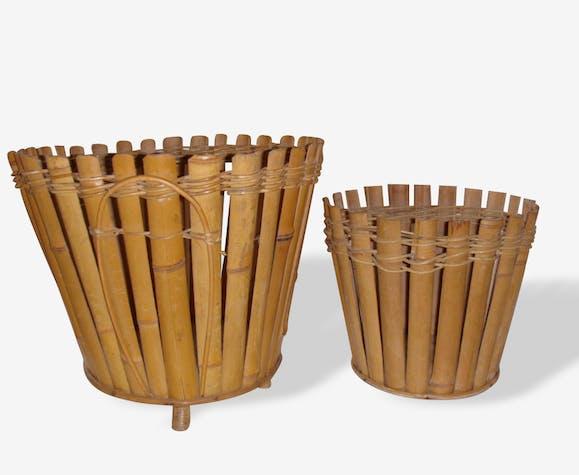 Paire de caches pot, bambou, rotin