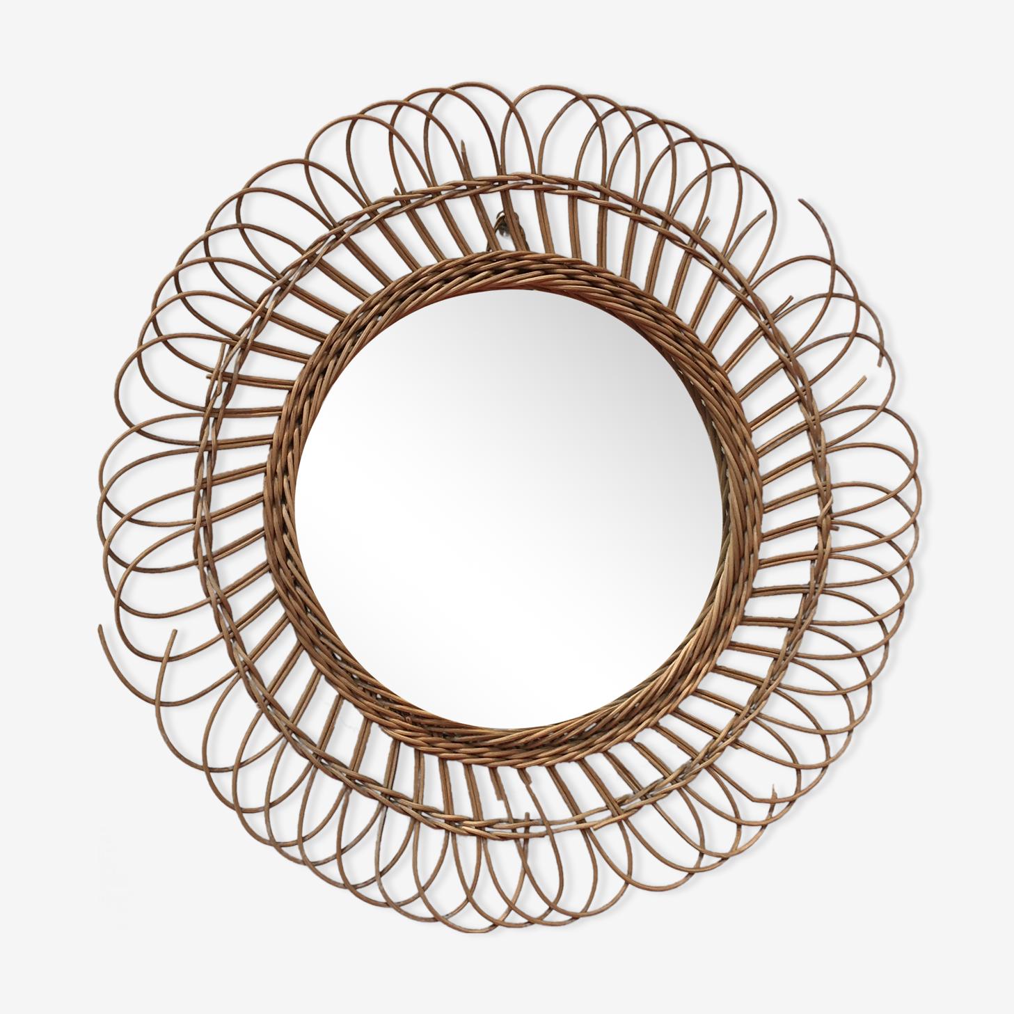 Mirror rattan wicker sun 48x48cm