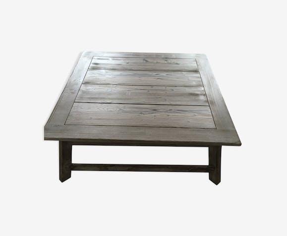 Table basse en bois massif gris cérusé