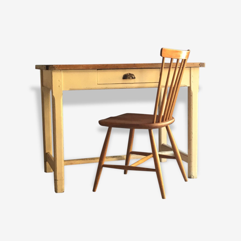 Bureau Atelier Vintage Table Vintage En Bois Bois Materiau