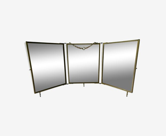 Brass barber's triptych mirror, 1900 era - 76x33cm