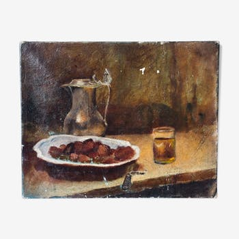 Ancient painting-still life with chestnuts oil on canvas