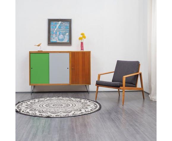 Enfilade haute années 60, bois de noyer, portes colorées