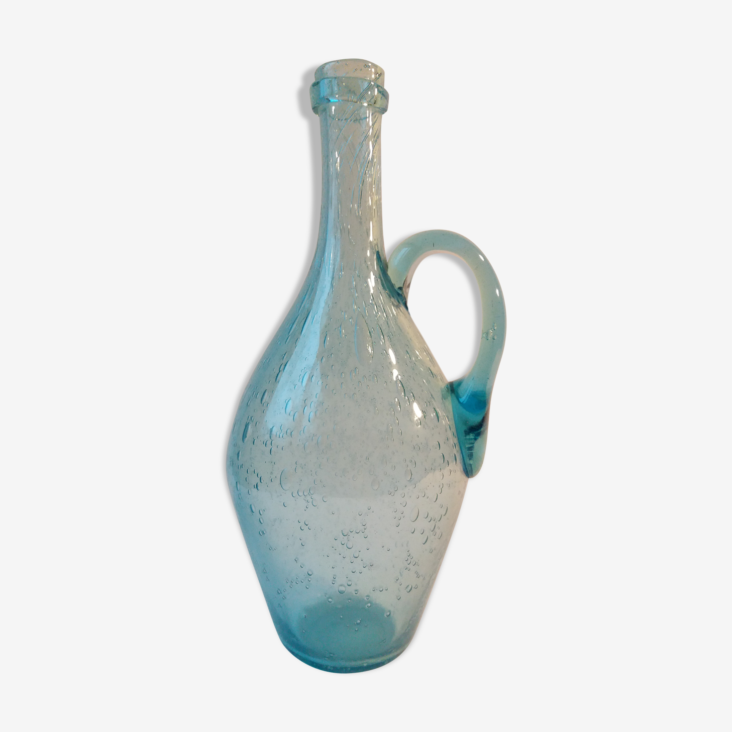 Carafe verre de Biot bleu azur