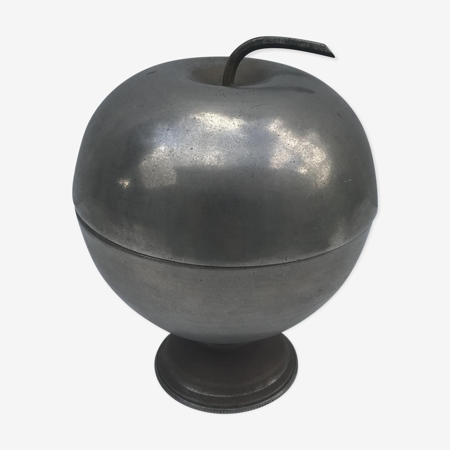 Ancien seau à glace en métal argenté pomme vintage #2