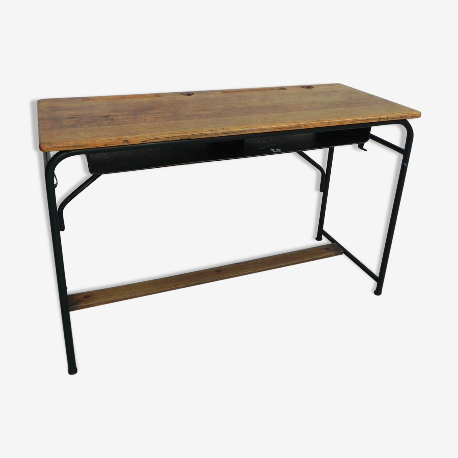Desk with steel frame and oak top