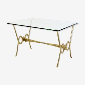 Table basse en laiton et en verre