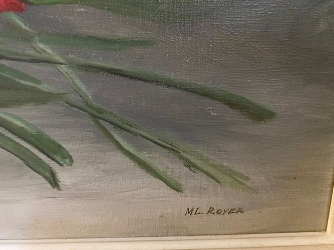 Painting on canvas flowers signed