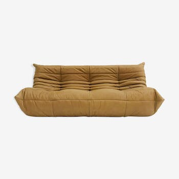 Togo sofa in camel pull up leather by Michel Ducaroy for Ligne Roset